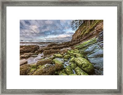 Green Stone Shore II Framed Print by Jon Glaser