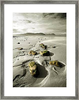Green Stones On A North Wales Beach Framed Print by Mal Bray