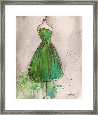 Green Strapless Dress Framed Print