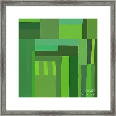 Framed Print featuring the digital art Green Stripes 3 by Elena Nosyreva