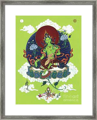 Green Tara Framed Print by Carmen Mensink