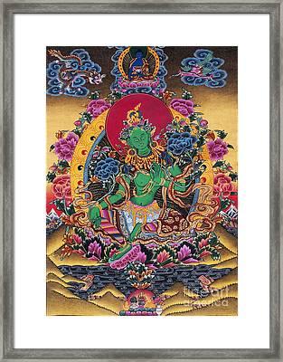 Green Tara Thangka Framed Print by Tim Gainey