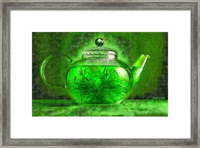 Green Tea Pot - Da Framed Print
