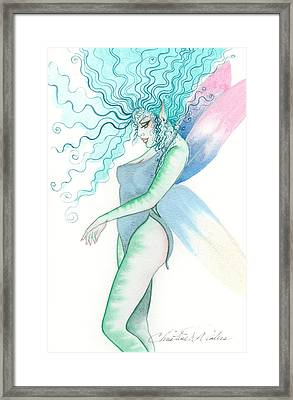 Green Tiger Fairy Framed Print by Christine Winters