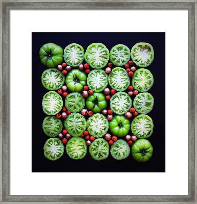 Green Tomato Slice Pattern Framed Print