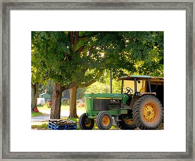 Green Tractor 2 Framed Print by Lanjee Chee