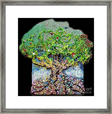 Green Tree With Birds Framed Print by Genevieve Esson