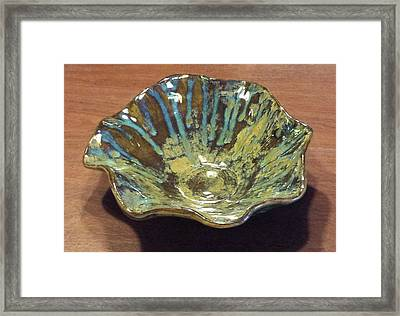 Green Turquoise Blue And Golden Brown Ceramic Bowl Framed Print by Suzanne Gaff