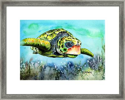 Green Turtle Framed Print by Maria Barry