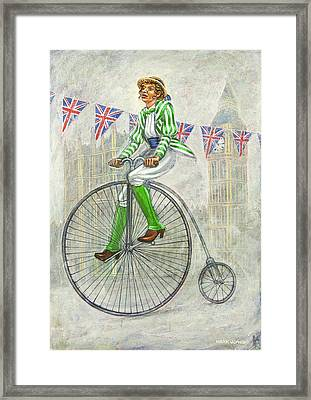 Tweed Run Lady In Green Pedalling Past The Houses Of Parliament Framed Print
