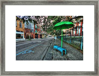 Green Umbrella Bus Stop Framed Print