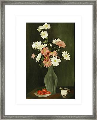 Green Vase With Flowers Framed Print