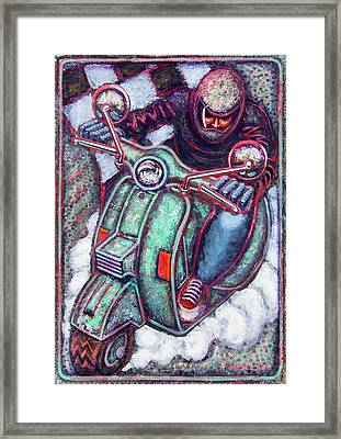 Green Vespa Framed Print