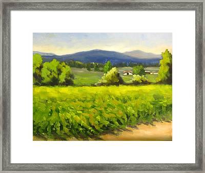 Green Vines Blue Hills Framed Print by Char Wood