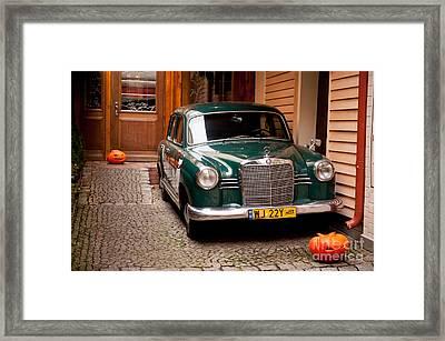 Green Vintage Mercedes Benz Car Framed Print by Arletta Cwalina