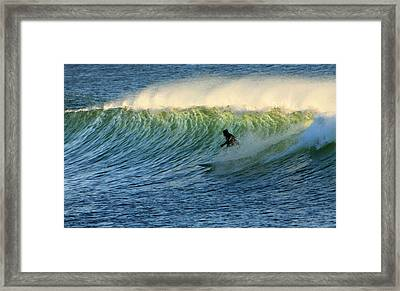 Green Wall Surfer Framed Print by Mike Coverdale