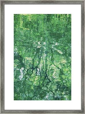 Green Water Abstract Framed Print by Carol Groenen