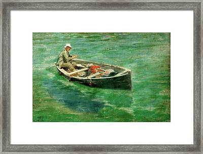 Framed Print featuring the painting Green Waters by Henry Scott Tuke