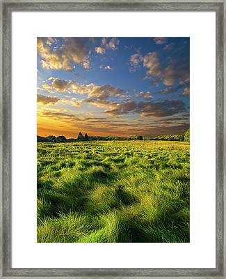 Green Waves Framed Print