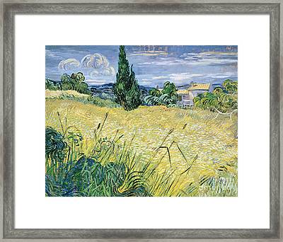 Green Wheatfield With Cypress Framed Print by Vincent van Gogh