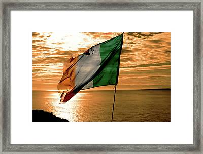 Flag Of Ireland At The Cliffs Of Moher Framed Print