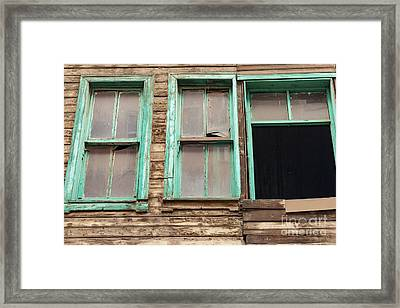 Green Window Frames Framed Print