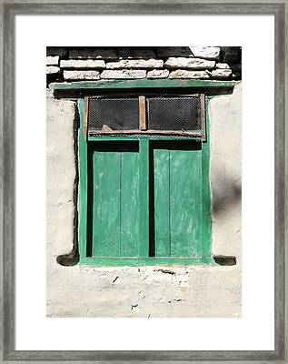 Green Window, Himalayan Village, Nepal Framed Print by Aidan Moran