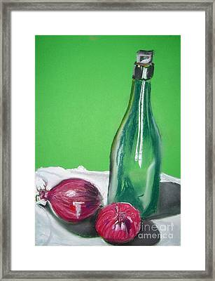 Green Wine Bottle And Red Onions Framed Print