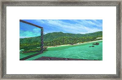 Green With Jalousie Framed Print by Sharon Ebert