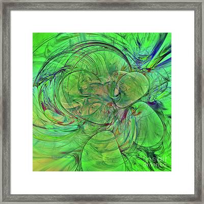 Framed Print featuring the digital art Green World Abstract by Deborah Benoit