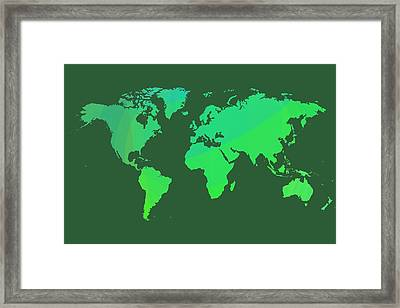 Green World Map Framed Print