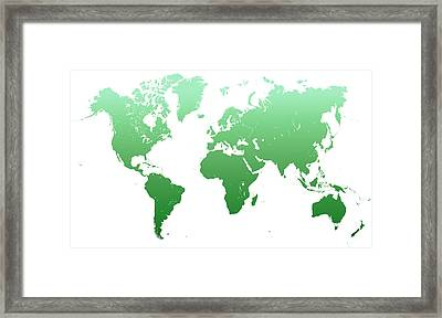Green World Map Framed Print by Jenny Rainbow