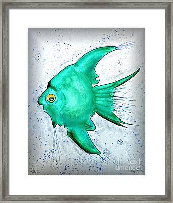 Framed Print featuring the mixed media Greenfish by Walt Foegelle