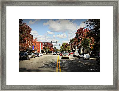 Main Street Fall Leaves Greensboro Georgia Art Framed Print by Reid Callaway