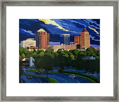 Greensboro Skyline In The Sunshine Framed Print