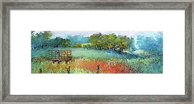 Greenville Hayfield In The Rain Framed Print by Virgil Carter