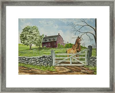 Greeting At The Gate Framed Print by Charlotte Blanchard