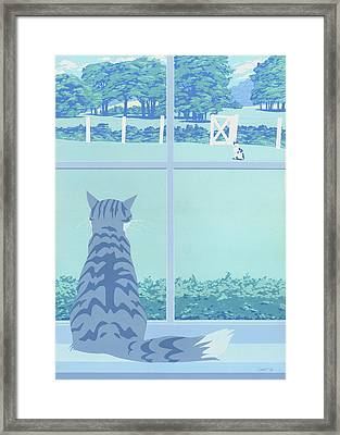 Greeting Card - Cats Staring Framed Print by Walt Curlee