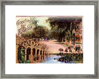 Greetings From Florida Framed Print by Deborah Hildinger