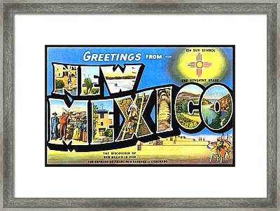 Greetings From New Nexico Framed Print by Vintage Collections Cites and States
