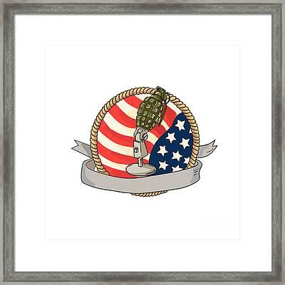 Grenade Microphone Usa Flag Circle Retro Framed Print by Aloysius Patrimonio