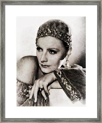 Greta Garbo, Vintage Actress Framed Print by John Springfield