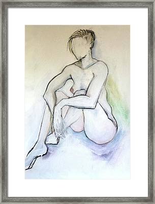 Framed Print featuring the pastel Gretchen - Female Nude Drawing by Carolyn Weltman