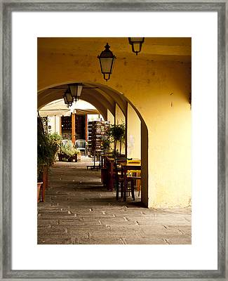 Greve In Chianti Portico Framed Print by Rae Tucker