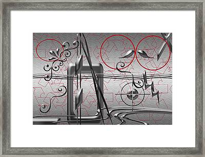 Grey And Red Circles Framed Print