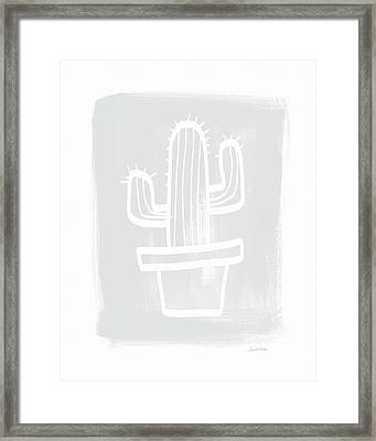 Grey And White Cactus- Art By Linda Woods Framed Print by Linda Woods
