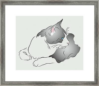Grey And White Cat In Profile Graphic Framed Print by MM Anderson