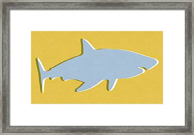 Grey And Yellow Shark Framed Print by Linda Woods
