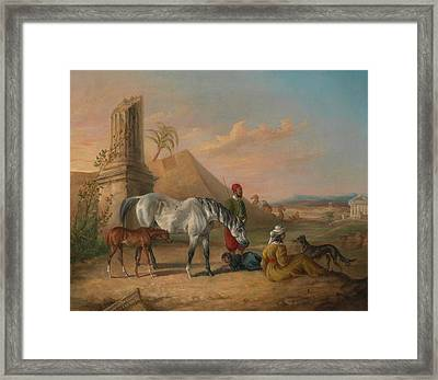 Grey Arabian Mare And Foal, With A Family Framed Print