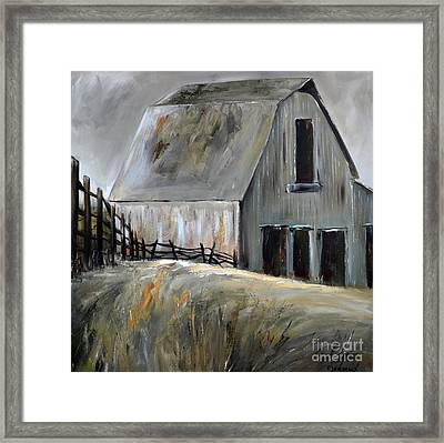 Framed Print featuring the painting Grey Barn by Cher Devereaux